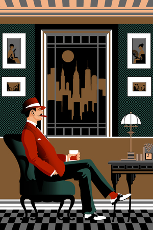 Gentleman in a chair with a glass of whiskey in the living room. Retro party invitation card. Handmade drawing vector illustration. Art deco style. 일러스트