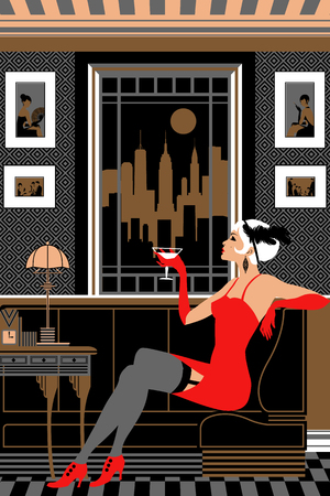 Flapper girl with a glass of wine. Retro party invitation card. Handmade drawing vector illustration. Art deco style.