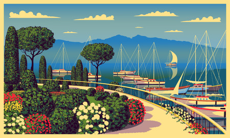 Mediterranean romantic landscape. Handmade drawing vector illustration. Can be used for posters, banners, postcards, books & etc.