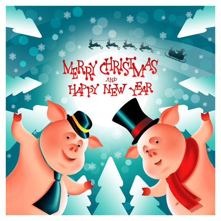 Two cheerful little piggies. Chinese New Year.