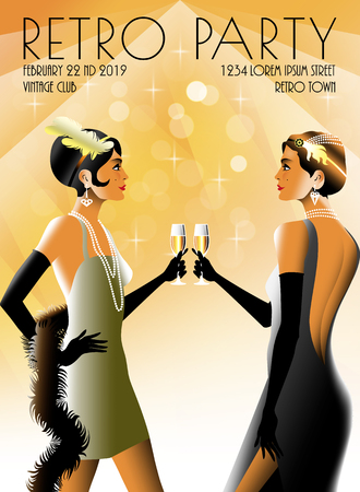 2 Flapper Girls at a party in the style of the early 20th century. Retro party invitation card. Handmade drawing vector illustration. Art Deco style. Illustration