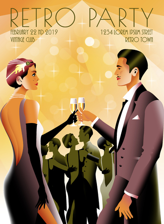 Couple at a party in the style of the early 20th century. Retro party invitation card.