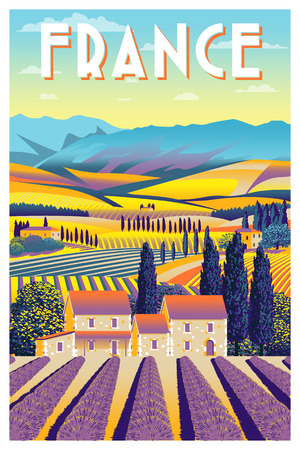 Rural landscape in summer day in Provence, France. Handmade drawing vector illustration. Flat design.