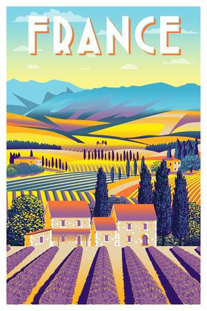 Rural landscape in summer day in Provence, France. Handmade drawing vector illustration. Flat design.