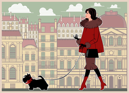 Girl with a small dog on a walk in the background of the city.