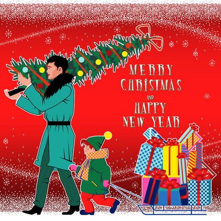 Father and son with Christmas gifts, Christmas tree and sled. Family members set. Handmade drawing vector illustration. Flat retro 1950-s style design.