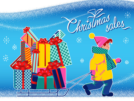 Boy with sleigh and new year gifts. Handmade drawing vector illustration. Flat retro 1950-s style design. Çizim