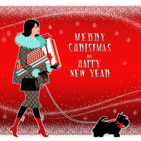 Girl with Christmas gifts and a small dog. Handmade drawing vector illustration. Flat retro 1950-s style design. Pop Art.