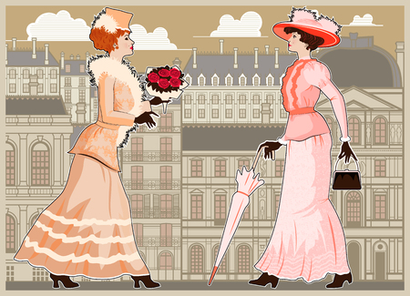 Two women walking the streets of Paris. Handmade drawing vector illustration. Vintage style. All objects are grouped and layered. Can be used for posters, banners, postcards, books. Çizim