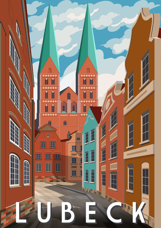 Summer day in Lubeck, Germany. Handmade drawing vector illustration. Retro style poster.