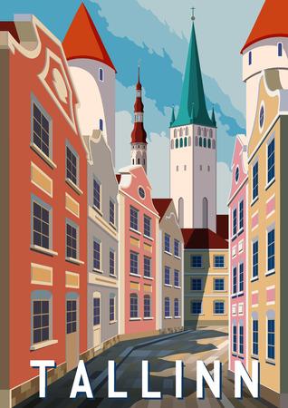 Summer day in Tallinn, Estonia. Handmade drawing vector illustration. Retro style poster.