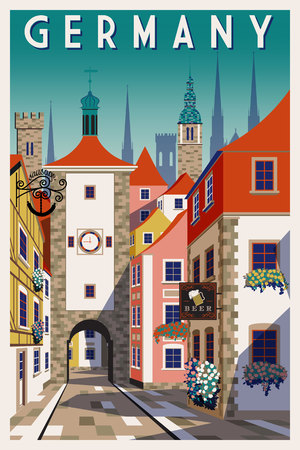 Summer day in small town in Germany. Handmade drawing vector illustration. Retro style poster