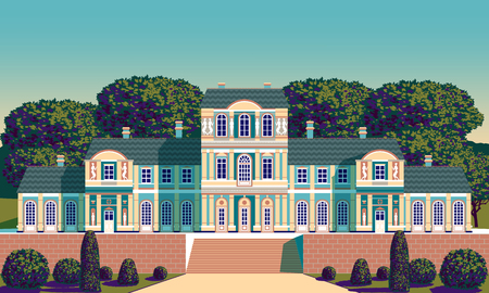 Classical Palace in the Baroque style. Pop art retro style.