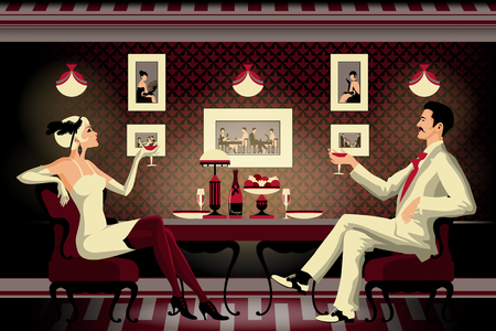 A couple in a restaurant of the early 20th century. Retro party invitation card. Handmade drawing vector illustration. Art Deco style. Flat design. Çizim