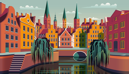 Summer day in small town in Holland. Handmade drawing vector illustration. Retro style poster.