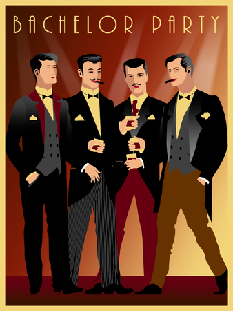 Four gentlemen at a party in the style of the early 20th century. Retro party invitation card. Handmade drawing vector illustration. Retro style. All figures are isolated.