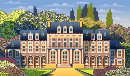 Medieval old mansion with garden, flowering shrubs and trees. Flat design. Vintage Poster Banque d'images - 121513032