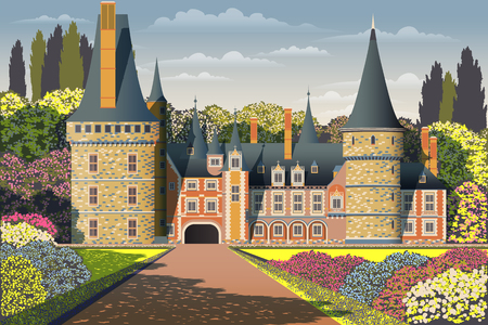 Medieval old gothic castle with a bridge, Park, flowering shrubs and trees. Flat design. Banque d'images - 121513079