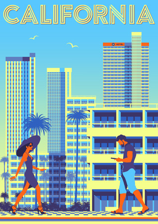 Street scene in California, USA. Travel poster. Handmade drawing vector illustration Çizim