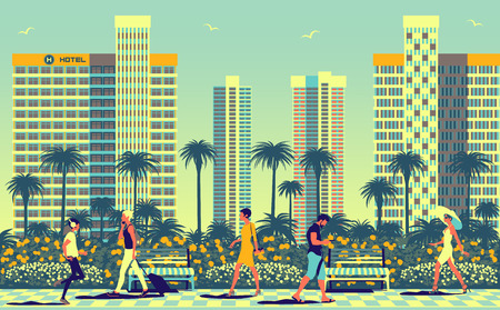 Summer cityscape with people in the foreground, Park and modern skyscrapers in the background. Travel poster. Handmade drawing vector illustration