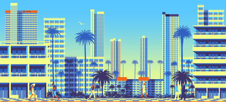 Summer cityscape with people in the foreground, Park, classic villa and modern skyscrapers in the background. Travel poster. Handmade drawing vector illustration Иллюстрация