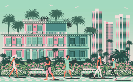 Summer cityscape with people in the foreground, Park, classic villa and modern skyscrapers in the background. Travel poster. Handmade drawing vector illustration Çizim