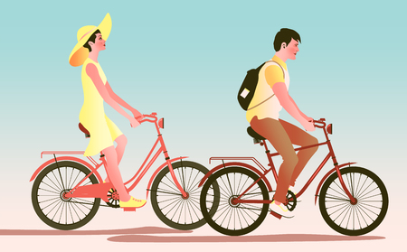 A couple of young people on bicycles. Handmade drawing vector illustration.