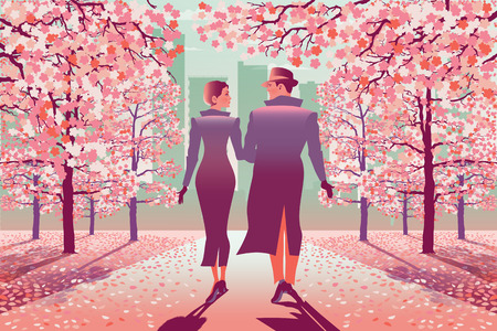 Loving couple in park in the spring. Handmade drawing vector illustration. Çizim