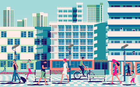 Summer cityscape with people in the foreground and modern buildings in the background. Handmade drawing vector illustration.