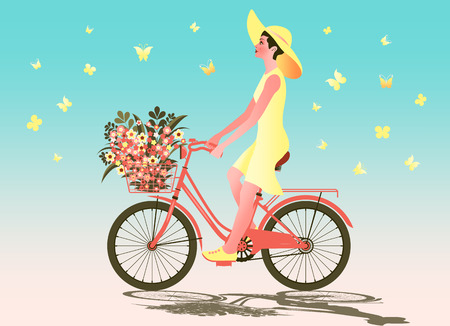 Girl on a bike with flowers in a basket and butterflies around. Handmade drawing vector illustration Çizim