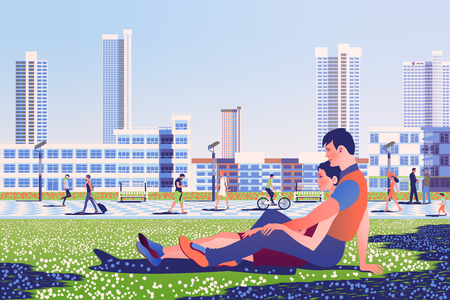 Couple in love on the lawn in the park with pedestrian area, people and buildings in the background. Handmade drawing vector illustration.