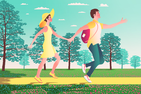 Couple in love on the lawn in the Park with meadow and trees in the background. Handmade drawing vector illustration.