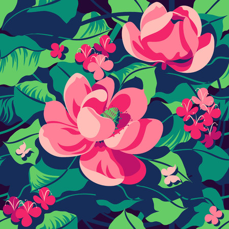 Floral tropical pattern. Handmade drawing vector illustration. Can be used for posters, banners, postcards