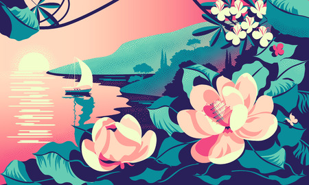Romantic seascape with tropic flowers in the foreground, mountains, trees and a yacht in the background. Handmade drawing vector illustration. Can be used for posters, banners, postcards. Çizim