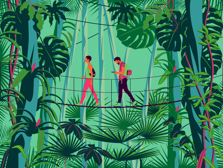 A man and a woman on a suspension bridge in the rainforest. Handmade drawing vector illustration. Pop art minimalist style. Vectores