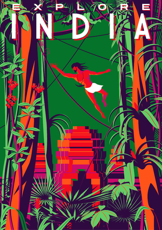 Travel poster about India with Mowgli in the jungle and an ancient temple in the background. Çizim