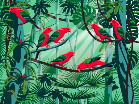 Parrots in the thickets of a flowering rainforest. Handmade drawing vector illustration. Pop art style.