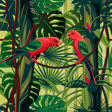 Parrots in the thickets of a flowering rainforest. Handmade drawing vector illustration. Seamless Pattern. Çizim