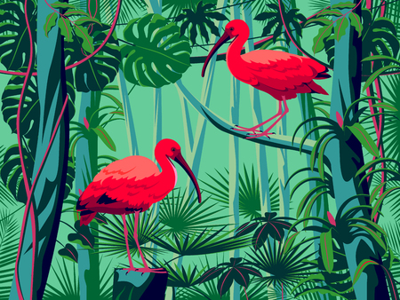 Scarlet Ibis birds in the thickets of a flowering rainforest. Handmade drawing vector illustration. Pop art style. Illustration