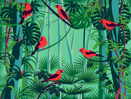 Scarlet Tanagers birds in the thickets of the flowering rainforest. Handmade drawing vector illustration. Pop art style.
