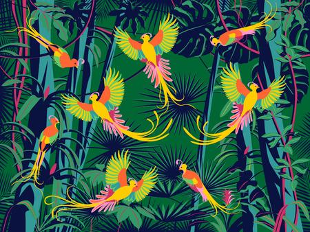 Birds of paradise fly in the flowering rainforest. Handmade drawing vector illustration. Pop art style.