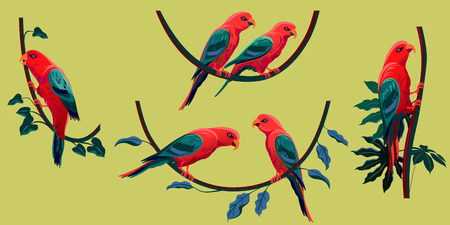 Set of Parrots in the thickets of a flowering rainforest. Handmade drawing vector illustration. Can be used for banners, posters, cards.