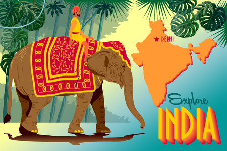 Tourist poster of India with Indian Raja riding an elephant, with jungle and map of India in the background. Handmade drawing vector illustration. Çizim