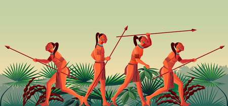 A group of Indians on the hunt in the rainforest. Handmade drawing vector illustration. Çizim