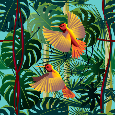 Flying hummingbirds in the thickets of a flowering rainforest. Handmade drawing vector illustration. Seamless Pattern.