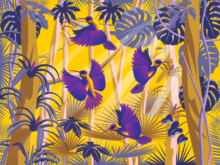 Flying hummingbirds in the thickets of a flowering rainforest. Handmade drawing vector illustration.