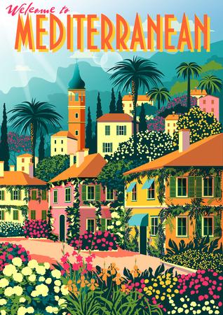 Mediterranean romantic landscape. Handmade drawing vector illustration