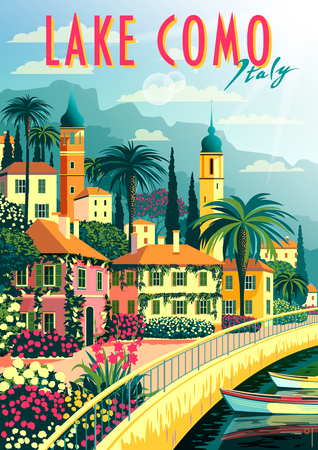 A small town on the shores of lake Como on a sunny summer day. Handmade drawing vector illustration. Retro poster. Can be used for posters, banners, postcards