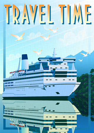 Art Deco ship vector illustration. Passenger liner in ocean.