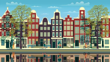 A street in Amsterdam with traditional buildings, walking people, trees and reflections in the water
